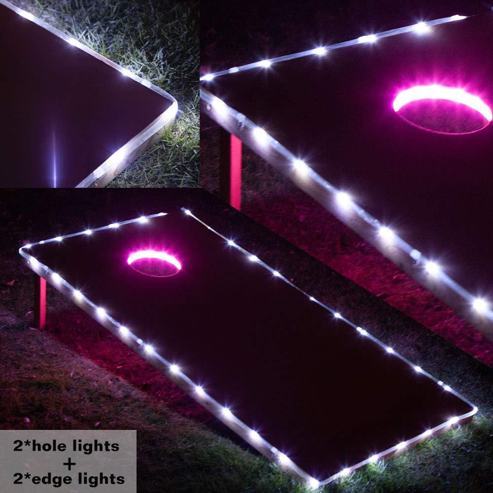 Cornhole Board Lights, Waterproof LED Cornhole Lights, Cornhole Toss Game Set fit for Standard Cornhole Boards(4ft x 2ft) (Pink(4 pcs Lights)) by Blinngo