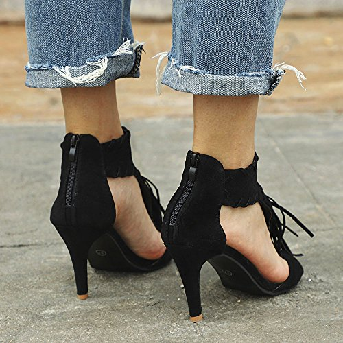 Chaussures Femme Hauts Chaussures Cheville Chaussures Zip Sandales Talons Peep Femme Noir Toe Femmes à Tassel Plateforme pour q7qzOAwt