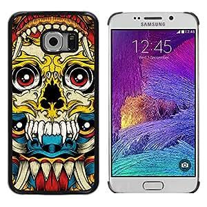 Shell-Star Arte & diseño plástico duro Fundas Cover Cubre Hard Case Cover para Samsung Galaxy S6 EDGE / SM-G925 / SM-G920A / SM-G925T / SM-G925F / SM-G925I ( Vampire Fang Acid Trip Yellow Skull )