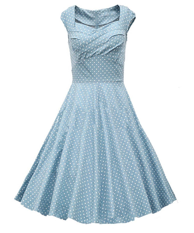 Ghope Damen Frauen 1950er Style Retro Rockabilly Schwingen Bogenknoten-Partei-Kleid