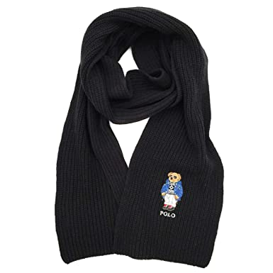 a3420ef1a Polo Ralph Lauren Mens Polo Bear Scarf (Black Sky