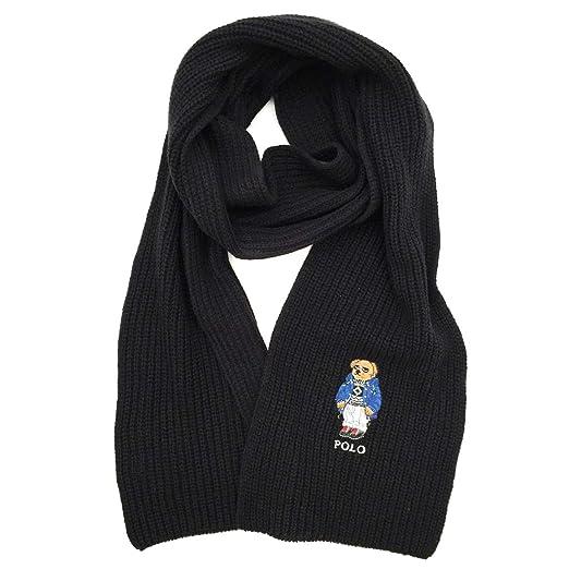 Polo Ralph Lauren Mens Polo Bear Scarf (Black Sky 89834a188b2c