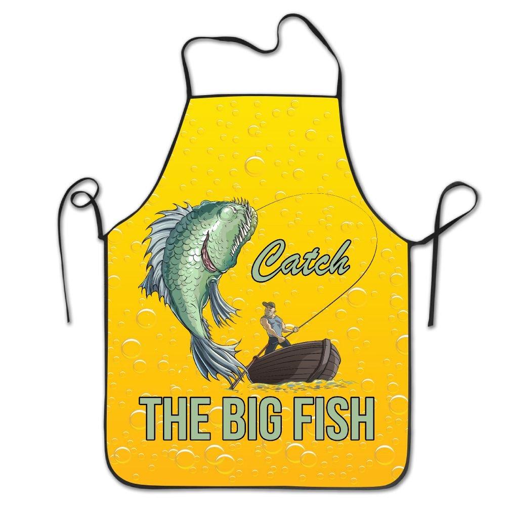 CAIS Nduq PersonalizedパターンギフトエプロンノベルティFunny Fisherman Fishingイエローキッチンエプロンfor Cooking Bakingガーデニングペットグルーミングクリーニング   B07D1N7S7M