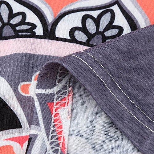 Blusa Corta Primavera Casual Cime Boemia Estate Donna Girocollo T Camicie Marrone Manica Irregolare Tunica Elegante Tops Maglietta shirt Sciolto Weant Stampa Orlo Camicetta Donne ASpqxaAfw