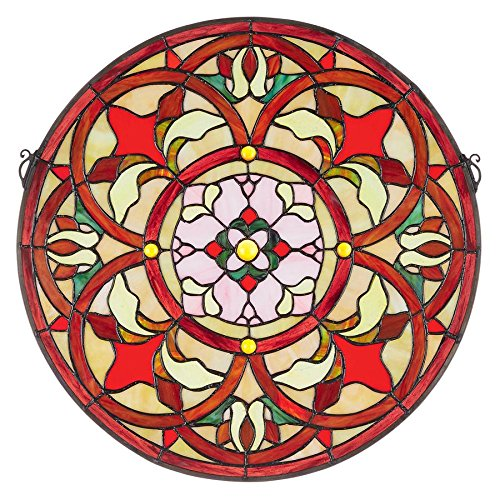 Design Toscano Baroque Floral Medallion Tiffany-Style Stained Glass Window, Full Color
