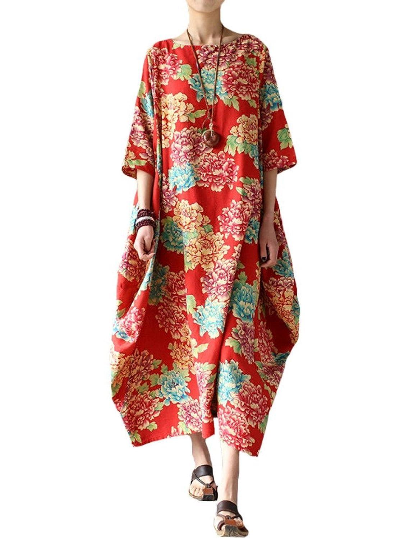 MatchLife Damen Rundhals Blumen Drucken Halbe Hülse Vintage Kleider
