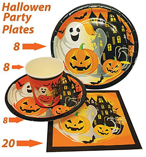 Halloween-Party-Set-Halloween-Party-Plates-Halloween-Party-Favor-Set-Includes-8-7-Plates-8-9-Plates-8-9oz-Cups-20-13-Napkins-By-4Es-Novelty
