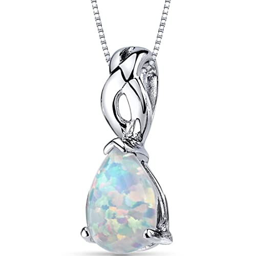 Created Opal Pendant Necklace Sterling Silver Pear Cabochon 1.75 Carats