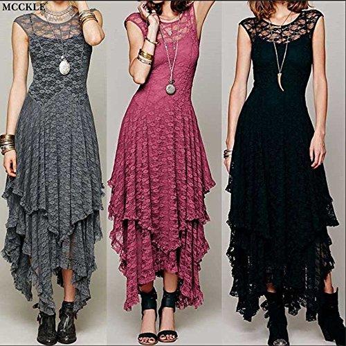 Ruffled Lace Layered (wangxiyan Women Boho Hippie Style Asymmetrical Lace Bodycon Dress Sexy Long Double Layered Ruffled Trimming Low V-Back Dresses)