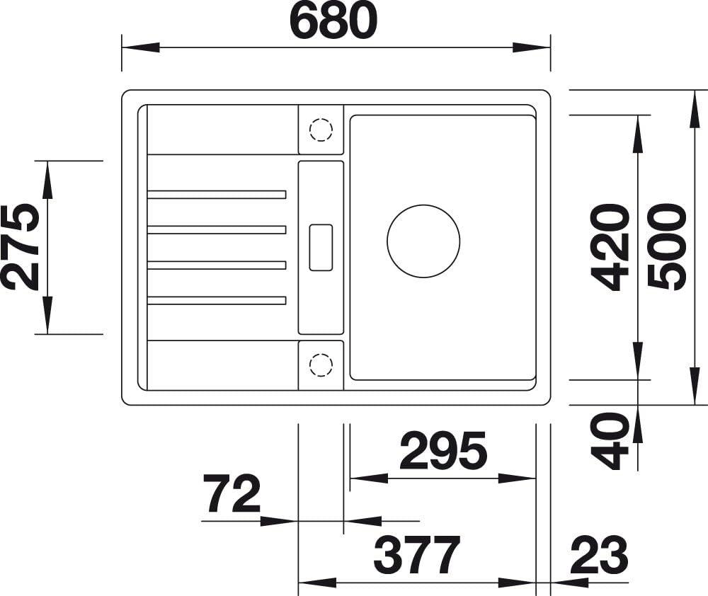520552 gris Blanco ClassicLexa 6 S /Évier en Silgranit PuraDur