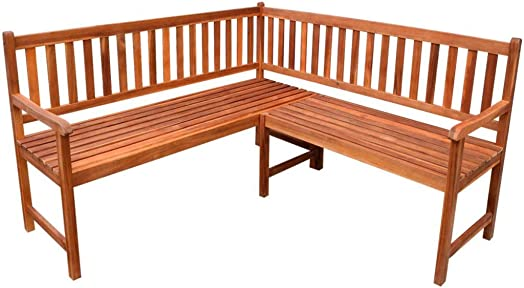 Tidyard Outdoor Wood Garden L-Shape Corner Sofa Bench Acacia Wood