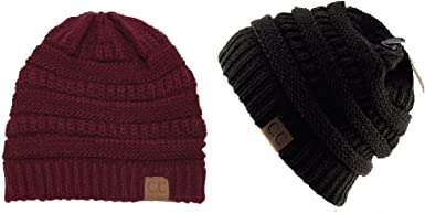 Womens Trendy Warm Chunky Soft Stretch Cable Knit Slouchy Beanie Skully Hat 2 Colors