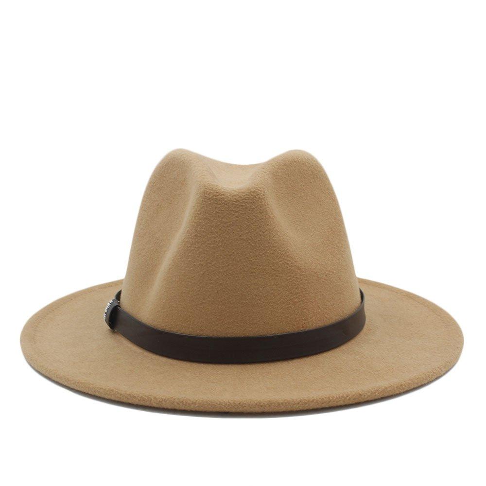 ZLQ Fedora Khaki DIY Belt Hat for Gentleman Crushable Hantom Dad Bowler Hat Top Hat