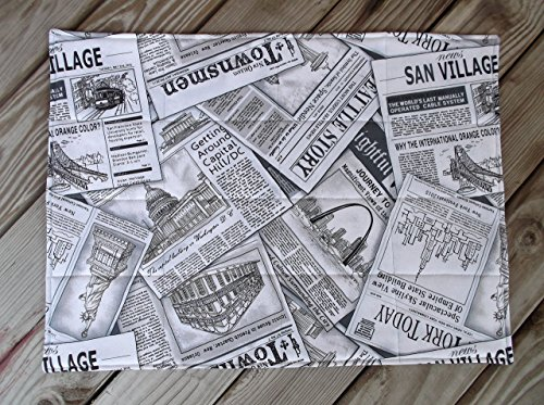 """Read All About IT"" Grey Print Newspaper Quilted Fabric Placemats set of 8"