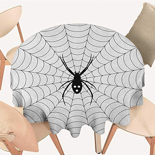 longbuyer Spider Web Circular Table Cover Poisonous Bug Venom Thread Circular Cobweb Arachnid Cartoon Halloween Icon Round Tablecloth D 50