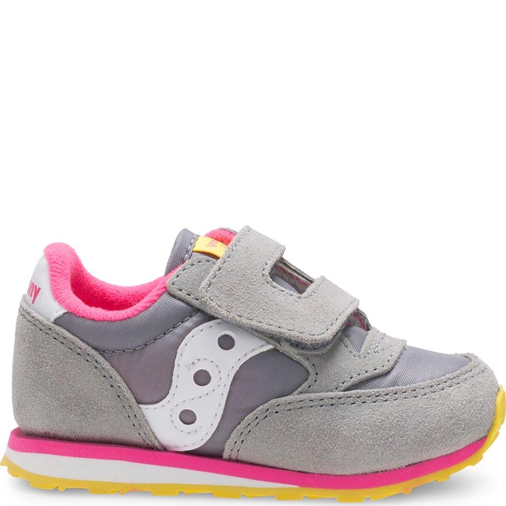 Saucony Girls Baby Jazz HL Sneaker (Toddler/Little Kid), Grey/Pink, 11.5 M US Little Kid