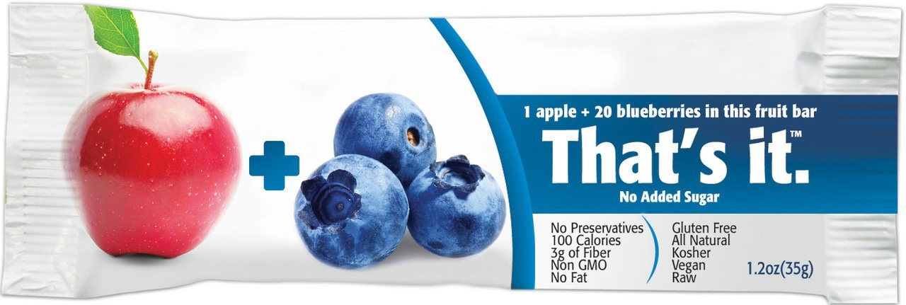 That's It Fruit Bars, Apple and Blueberry, Pack of 24 (2 Cases)