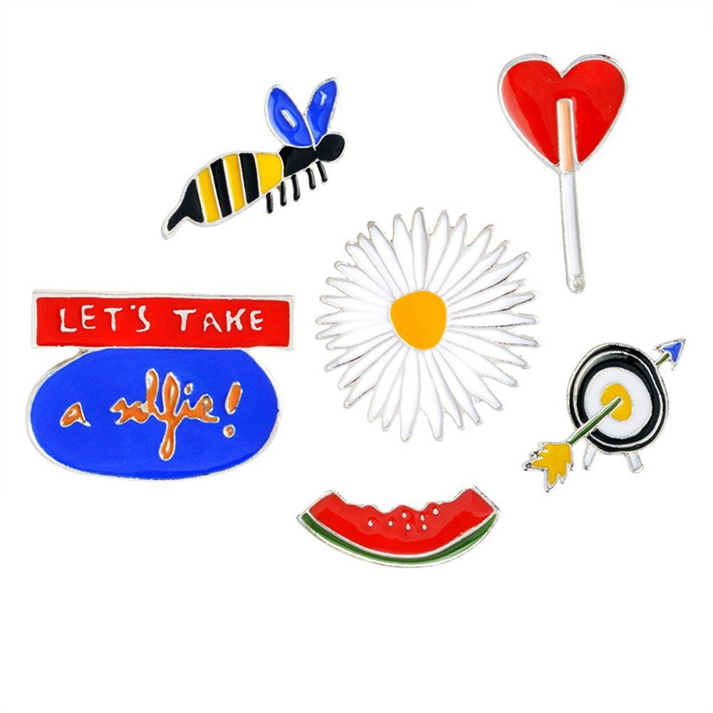 6pcs''Let's Take a Selfie'' Lapel Pin Set,Summer Vacation Cartoon Badge Brooch Pins