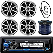 """JVC KD-X33MBS Marine Bluetooth Radio Stereo Boat USB AUX Pandora Mechless Receiver System 4 Jensen 6.5"""" Inch Coaxial Silver/Black Speakers Enrock 45"""" Marine Wire Antenna 50ft Wire"""