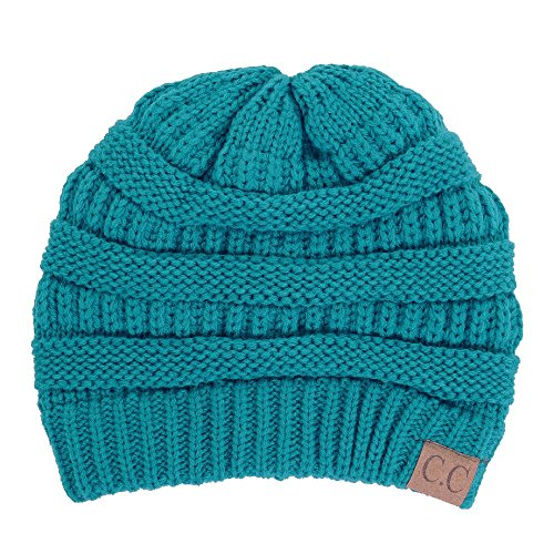BYSUMMER C.C Warm Soft Cable Knit Skull Cap Slouchy Beanie Winter Hat (Teal) ()