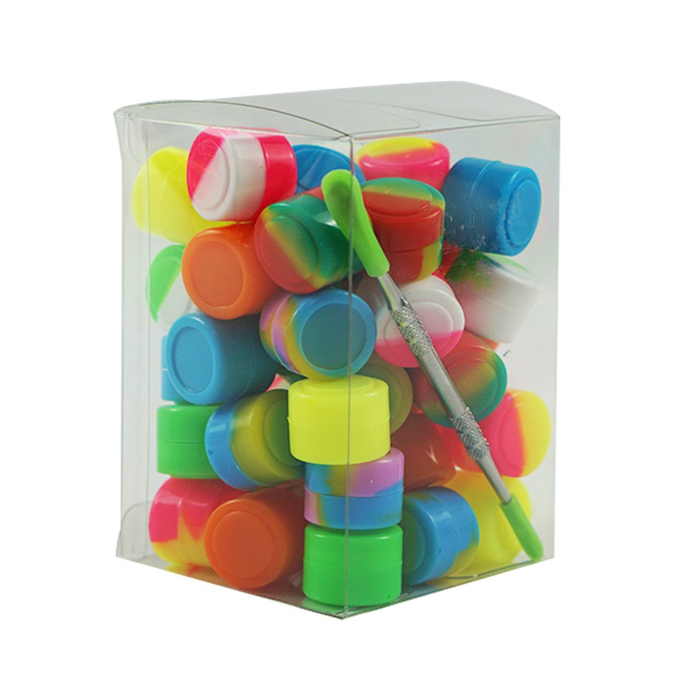 X-Value 2ml Silicone Oil Container Non Stick Round Jar Packed by 50pcs and a Holder Assorted Color