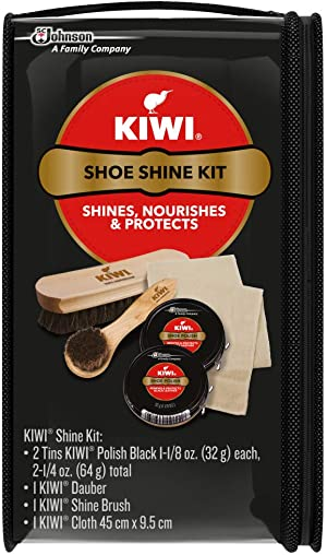 KIWI Shoe Shine Kit, Black - Gives Shoes Long-Lasting Shine and Protection (2 Tins, 1 Brush, 1 Dauber and 1 Cloth), 2.5 Ounce, 2 Pack