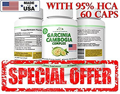 Garcinia Cambogia Complex with 95% HCA Extract - 60 Veggie Capsules Caps Natural Fast Action Diet Pills, Fat Burner, Appetite Suppressant for Weight Loss & Healthy Digestive System