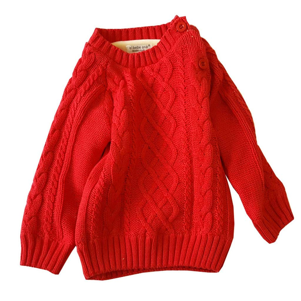 SUNBIBE Baby Boys Girls Boys O-Neck Solid Toddler Children Sweaters Knitted Pullover Coats Outwear Sweater
