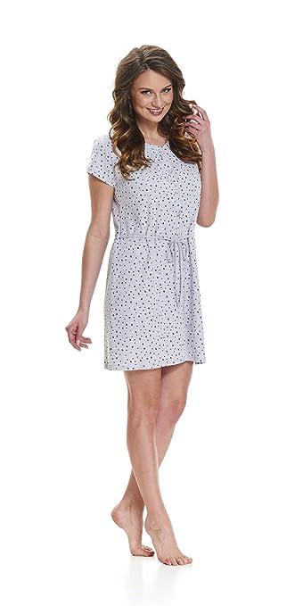 dn-nightwear Damen Umstandsnachthemd//Stillnachthemd TCB.9445 aus Baumwolle