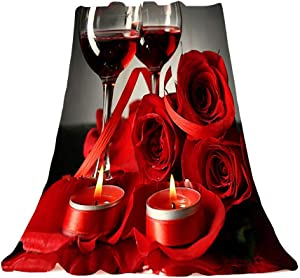 Goodbath Throw Blanke Red and Black , Red Rose Wine Glasses Flanel Cozy Plush Velvet Warm Blanket Super Soft Flowers Fleece Blanket for Sofa Couch Bed Office Chair, 58 x 80 Inch