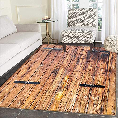 Rustic Area Rug Carpet Antique Timber Planks in Weathered Tones with Locks Vintage Style Country House Floor Mat Rug Indoor/Front Door/Kitchen and Living Room/Bedroom Mats Rubber Carpe Non Slip Antique Wide Plank Floors