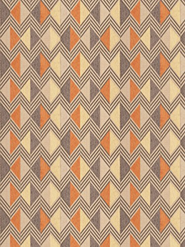 Harvest Gray Gold Orange Spice Geometric Abstract Stripes Chevron Contemporary Modern Wovens Chenille Upholstery Fabric by the yard - Modern Contemporary Upholstery Fabric