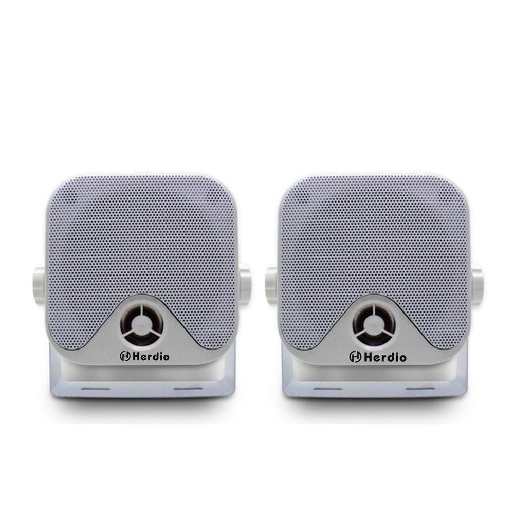 Herdio 4 inch Marine Box Bluetooth Speakers -Compact Waterproof Audio Stereo Sound System with 100 Watt Power for Boat Golf cart Jeep ATV UTV Truck Heavy Duty Powersports Vehicles Courtyard (White)