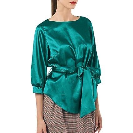 Blusa de cuello redondo para mujer, diseño de lazo, color ...