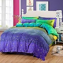 4pcs Bedding Set No Comforter Duvet Cover Flat Sheet Pillow Case Twin Full Queen Aloe cotton Planet Designs (Queen, Dream Sky)