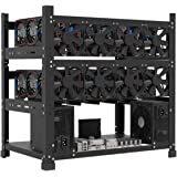 Mining Rig Frame for 12GPU, Steel Open Air Miner Mining Frame Rig Case, Support to Dual Power Supply for Crypto Coin Currency