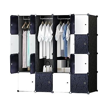 DIY Plastik Schrank Portable Kleiderschrank mit schwarz-weiß-Türen ...