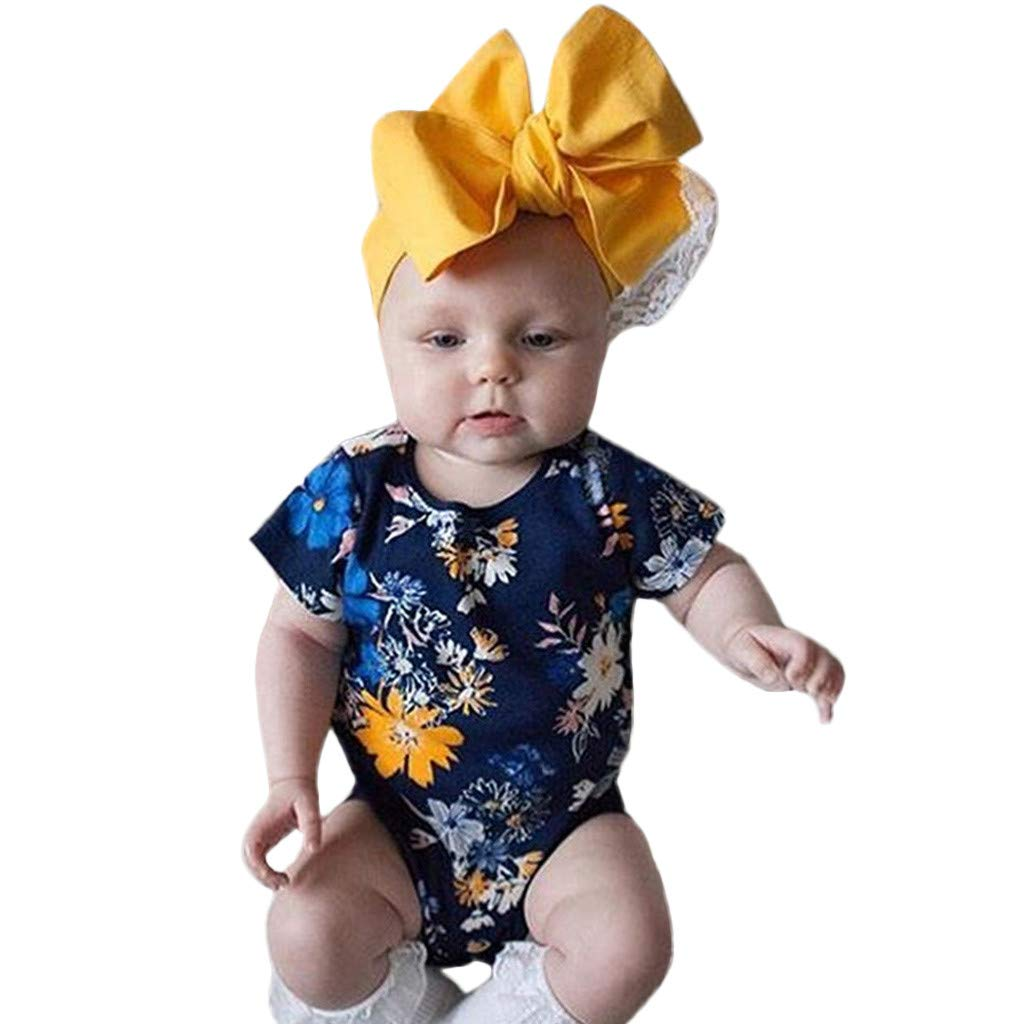 NUWFOR Newborn Infant Baby Girls Boys Floral Print Romper Bodysuit Outfits Clothing (Navy,0-6Months)