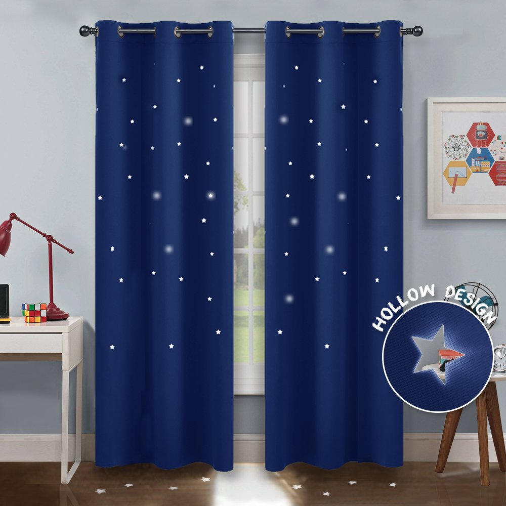 PONY DANCE Nursery Blackout Drapes - Star Curtain Grommet Hollow out Star Curtains / Laser Cutting Design Drapes Starry Night Sky for Nursery Kids' Bedroom, 42'' Wide by 84'' Drop, Navy Blue, 2 Pcs