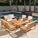 wood patio furniture Christopher Knight Home 295746 The Carolina Beckley 8-pc Outdoor Wood Sofa Seating Set, 8 Piece, Natural Stained