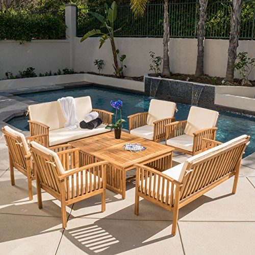 Beckley 8-pc Outdoor Wood Sofa Seating Set Acacia Outdoor Furniture