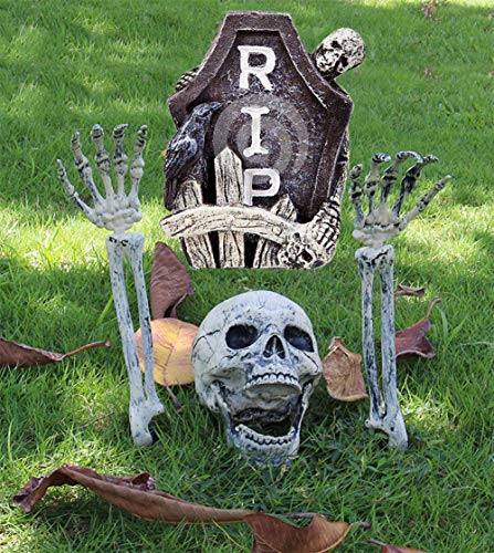 SYBOOMING Scary Skull and Hands Skeleton, Realistic Skeleton Stakes Halloween Decoration Event Party Supplies, Halloween Props Yard Decorations
