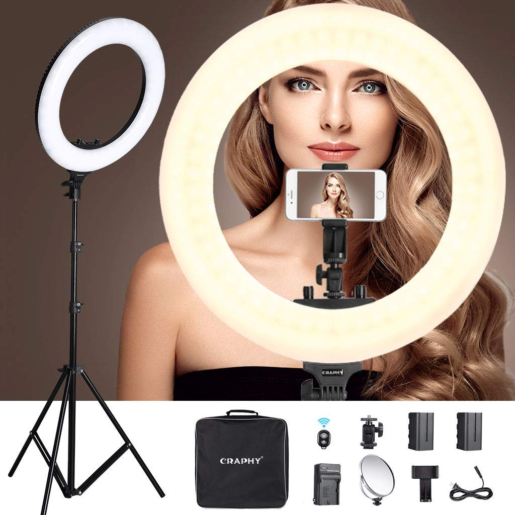 CRAPHY 18'' LED Ring Light 48W Bi-Color Dimmable 3200k-5600k Kit with 2Battery, Bluetooth Remote Control, Light Stand, Hot Shoe, Cosmetic Mirror for Camera Smartphone Selfie YouTube Video Shooting
