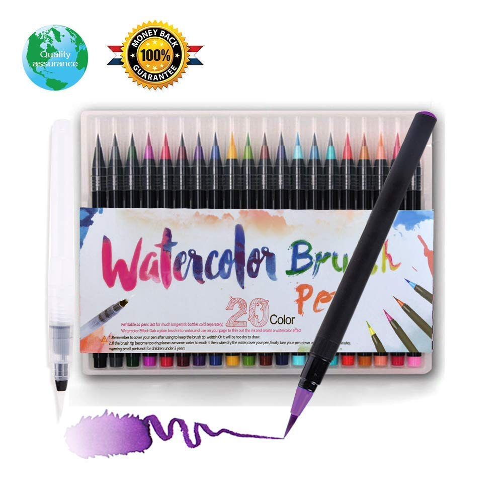 Watercolor brushi Markers Pen 20 Bright Colored pens, Watercolor Pen Ink Enough, Watercolor Pen Set Marker Pen Color Very Smooth Brush Very Vivid Pen case (watercolor-48) CHERRY BLOSSOM