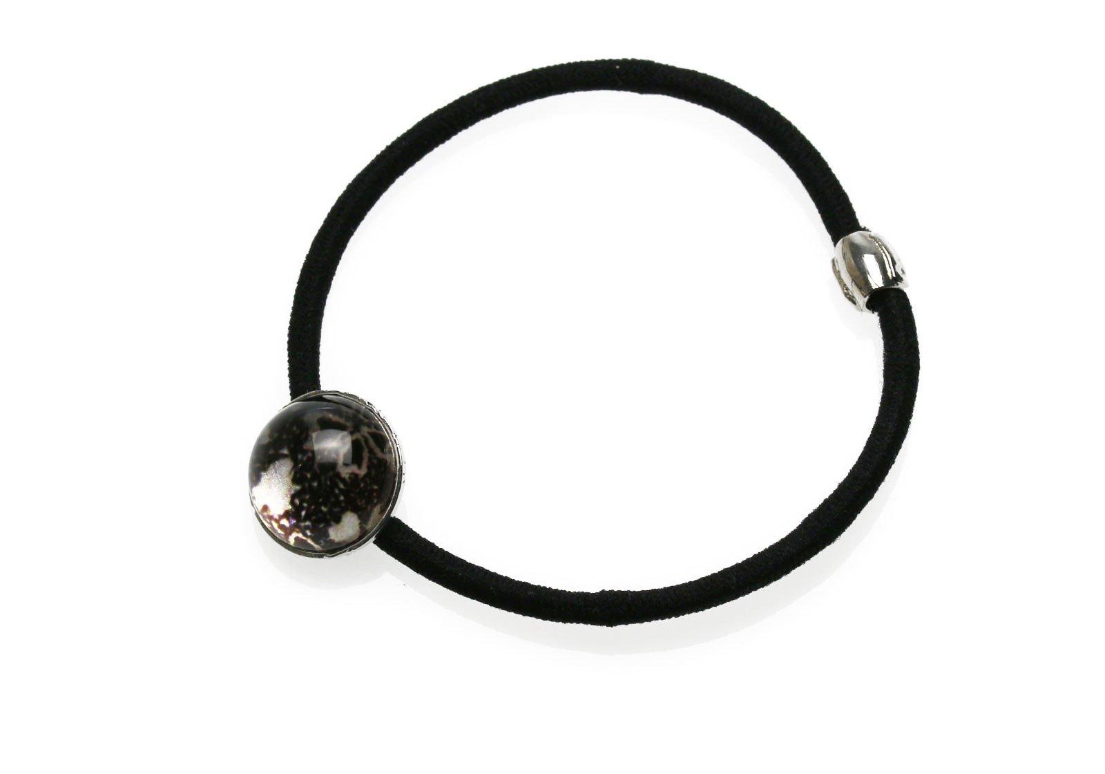 Tamarusan Silver Sakura Round Black Simple Hair Hair Nickel Free Handmade Resin