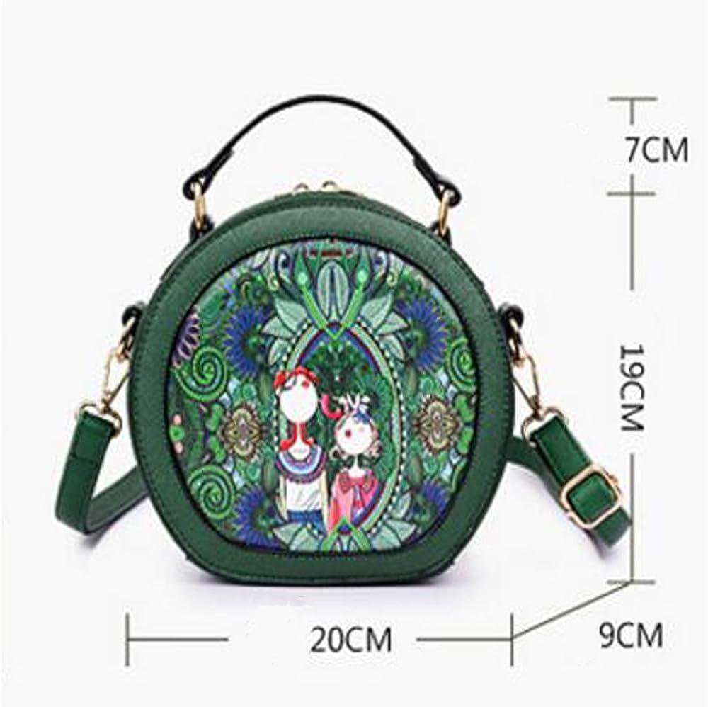 RYRYBH Womens Leather Bag PU Shoulder Bag Casual Four Seasons Printed Shoulder Twill Handbag Green//Purple//Red Backpack