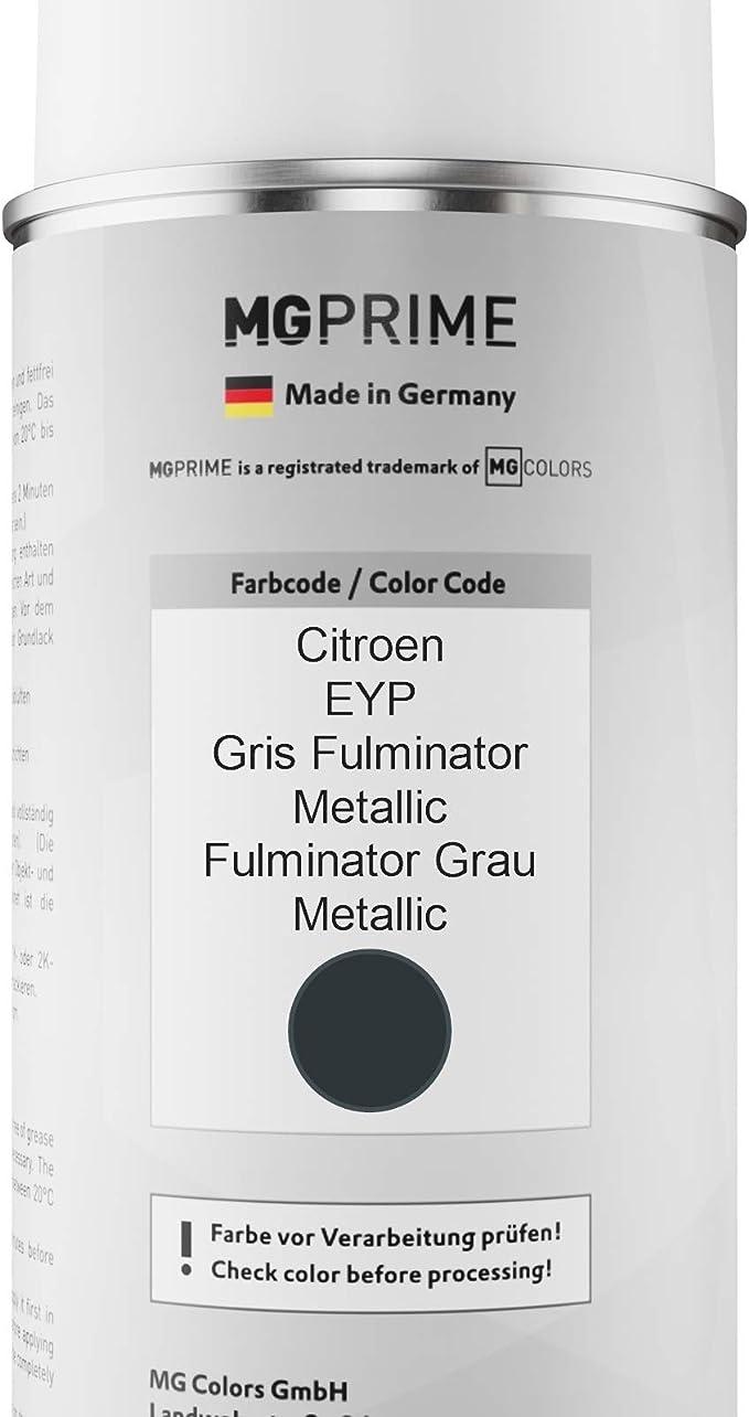 Mg Prime Autolack Sprühdosen Set Für Citroen Eyp Gris Fulminator Metallic Fulminator Grau Metallic Basislack Klarlack Spraydose 400ml Auto