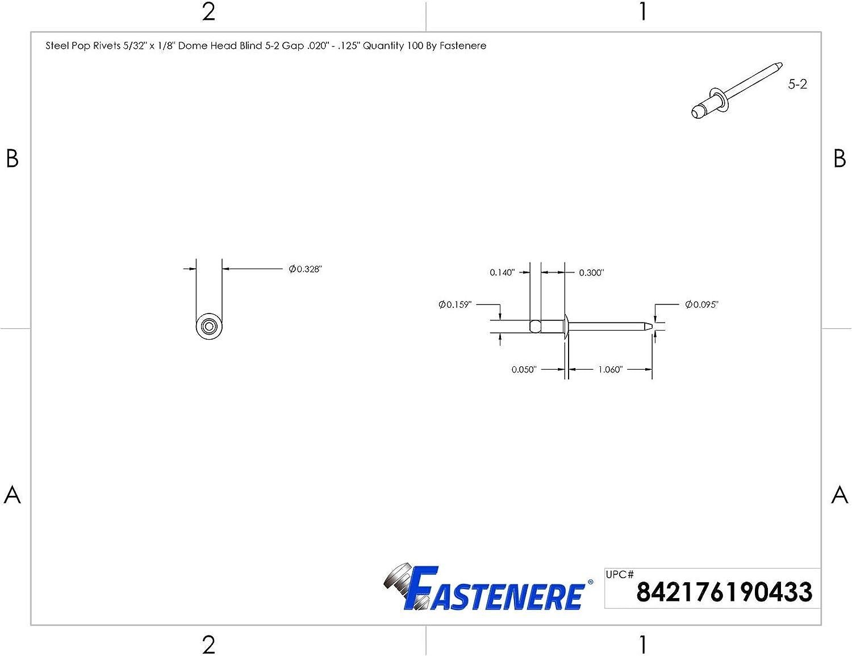 Pop Rivets 5//32 x 1//8 All Steel Dome Head Blind 5-2 Quantity 2500