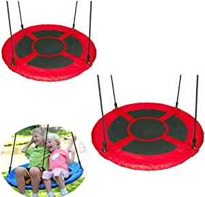 Swing, Outdoor Sling Rope Swings Seat Garden Swings for Childrens Easy to Adjust 2 Piece Set,Red