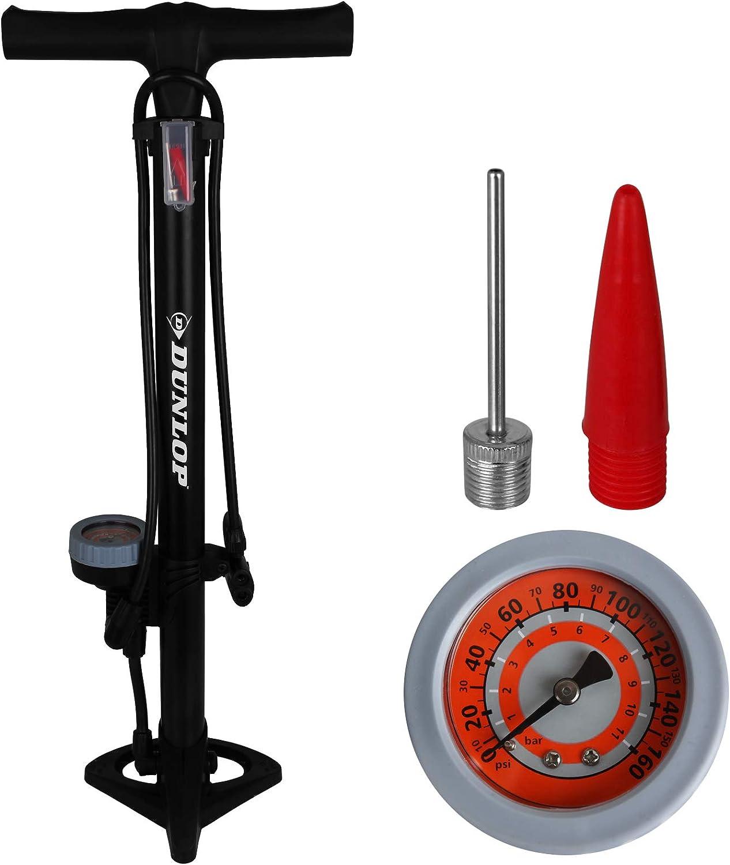 Dunlop bicycle floor pump with pressure gauge for all valves, air pump, bicycle floor pump, bicycle pump